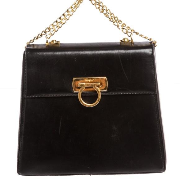 Salvatore Ferragamo Black Leather Chain Handbag. M 5a6670aea44dbe3442f18abd 11b9ce6283897